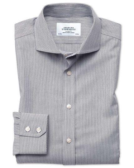Slim fit cutaway non-iron fine stripe charcoal shirt