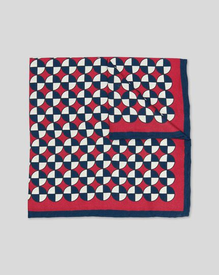 Circle Geometric Print Pocket Square - Red & Navy
