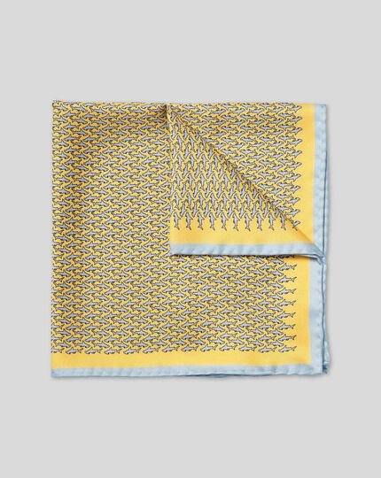 Hammerhead Shark Print Pocket Square - Yellow & Sky