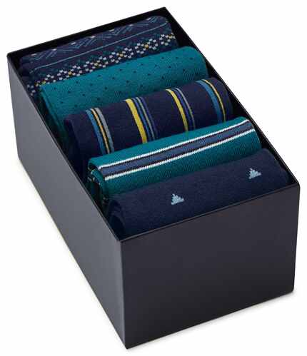 Multi blue sock gift box