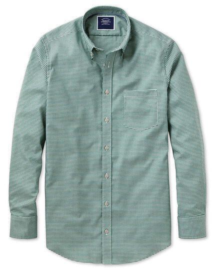 Chemise vert foncé en tissu stretch coupe droite à carreaux vichy à délavage doux sans repassage