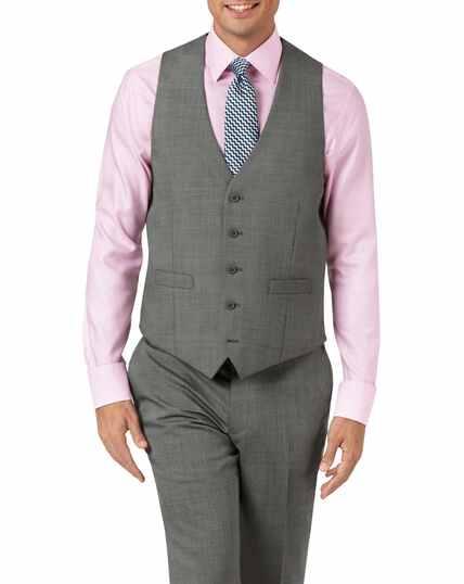 Silver adjustable fit step weave suit waistcoat