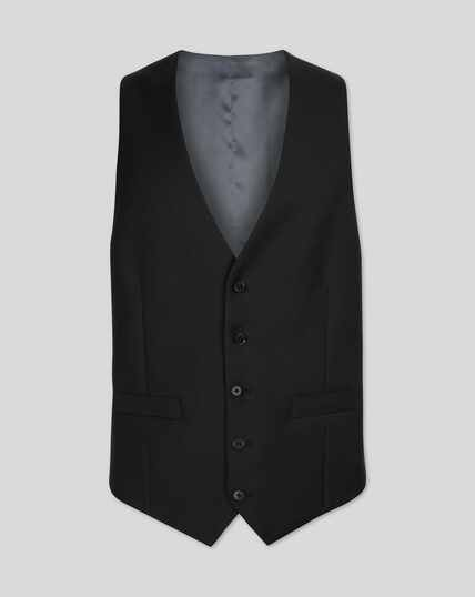 Twill Business Suit Vest - Black