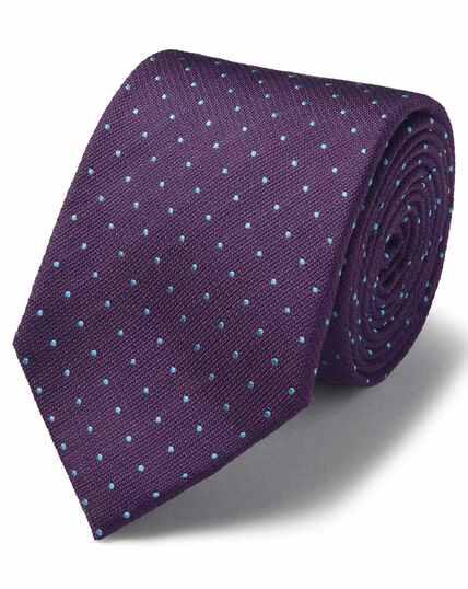 Paars/hemelsblauwe vlekbestendige klassieke zijden stropdas met textuur en stippen