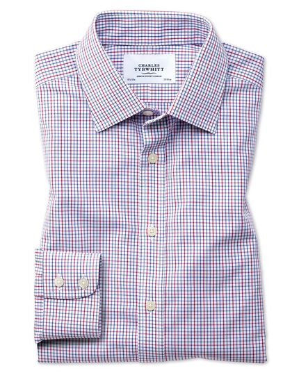 Slim fit non-iron grid check multi shirt