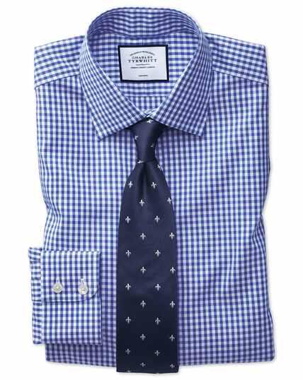 Blauw, strijkvrij geruit popeline keperoverhemd met slanke pasvorm