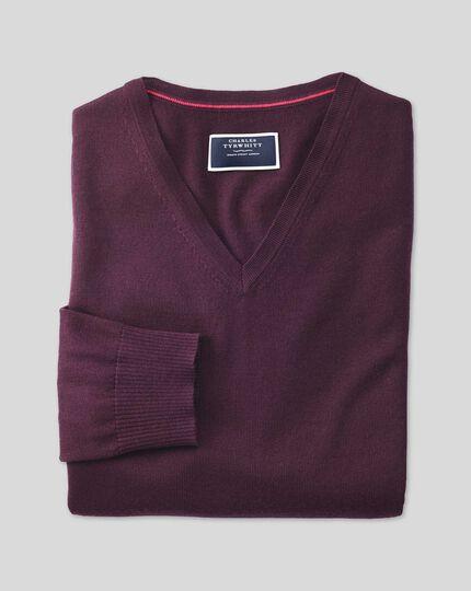 Wine merino wool v-neck jumper