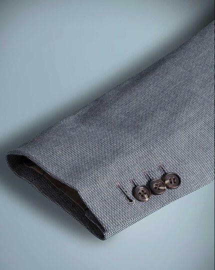 Classic fit light blue textured stretch cotton jacket