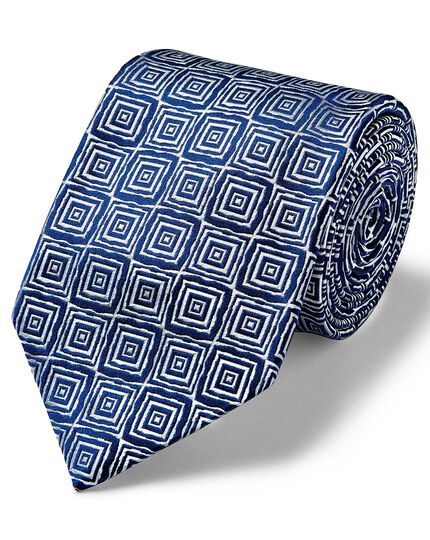 Silver and navy square geometric English luxury tie