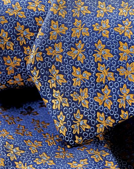 Silk Floral English Luxury Tie - Gold