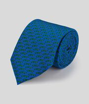Alligator Silk Print Classic Tie - Royal Blue & Green