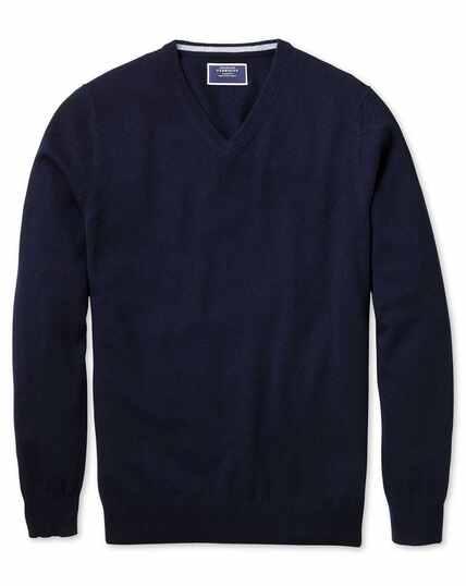 Pullover aus Kaschmir mit V-Ausschnitt in Marineblau