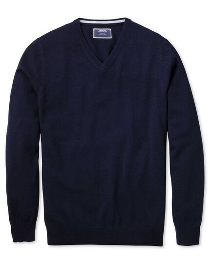 Navy v-neck cashmere sweater