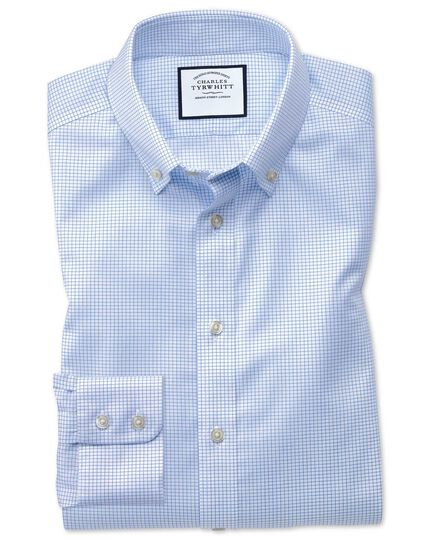 Classic fit button-down non-iron twill mini grid check sky blue shirt