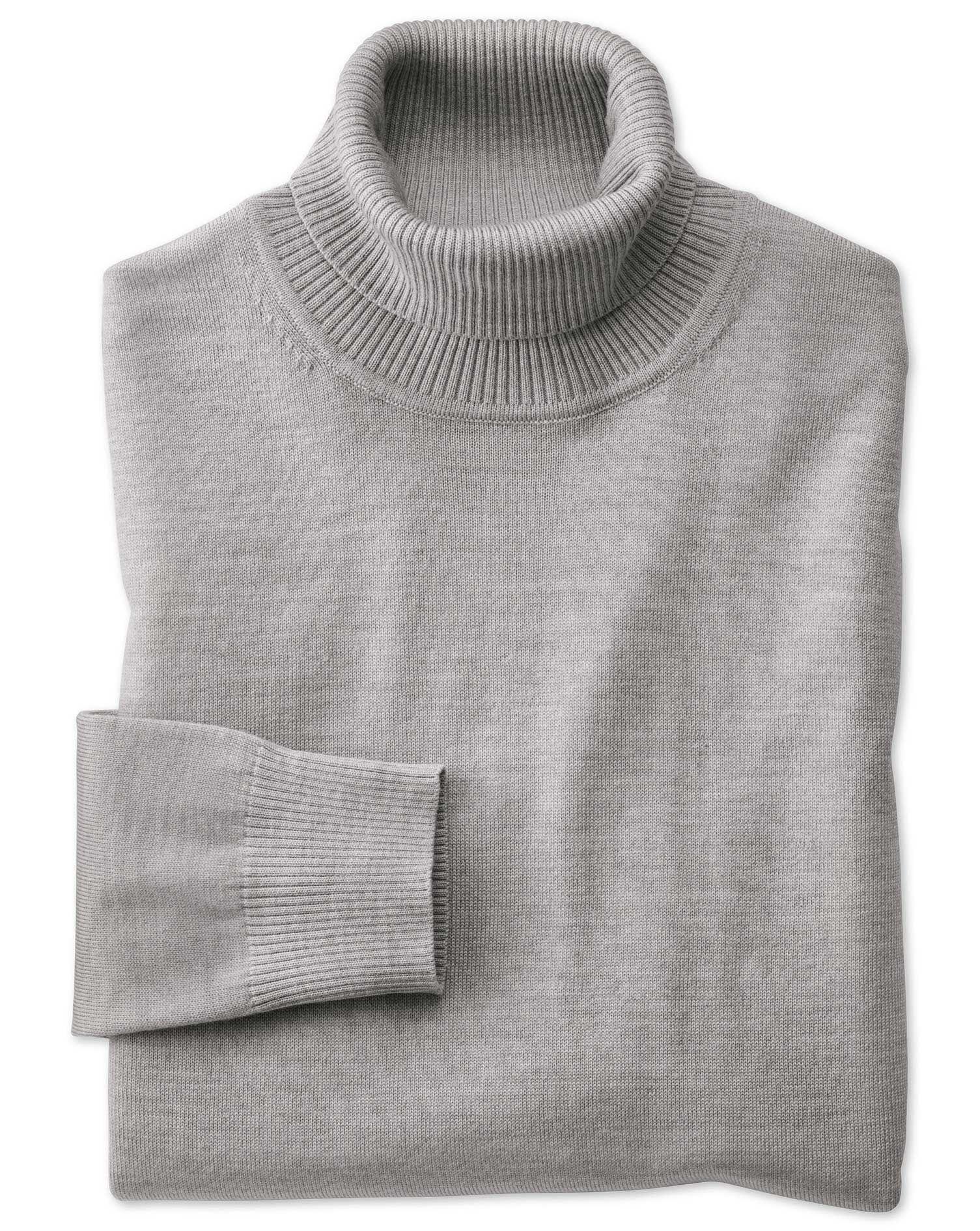 Silver roll neck merino jumper