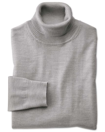 Silver turtle neck merino sweater