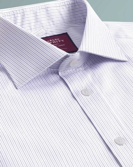 Chemise luxe lilas coupe droite à fines rayures
