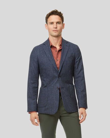 Check Wool Mix Jacket - Blue