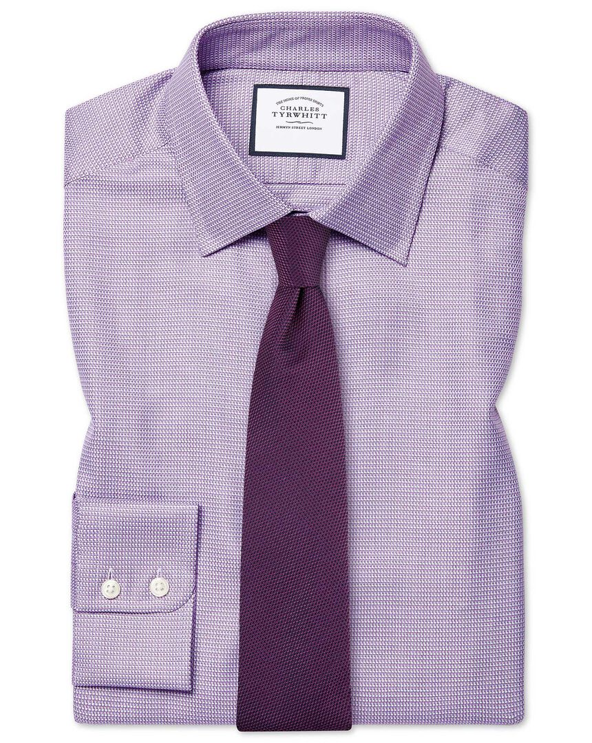Slim fit Egyptian cotton chevron purple shirt