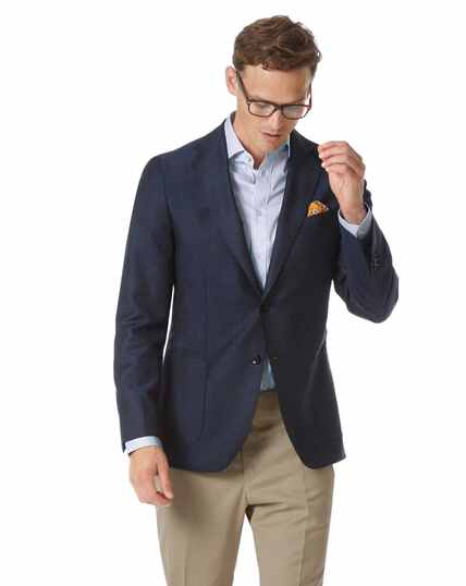 Slim fit navy Italian wool mohair silk luxury blazer