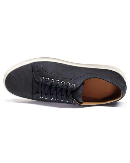 b3728ba26675 Blue nubuck leather toe cap sneakers