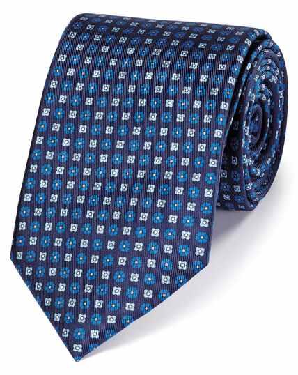 Blue silk printed classic tie