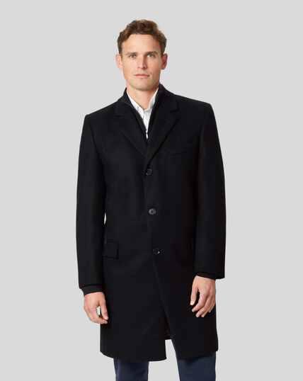 Mantel aus italienischem Wolle-Kaschmir-Mix - Schwarz