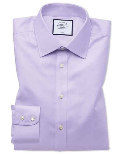 Classic fit non-iron twill lilac shirt