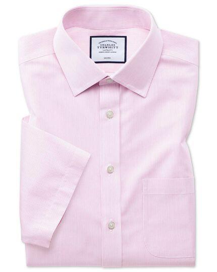 Classic fit non-iron Tyrwhitt Cool poplin short sleeve pink stripe shirt