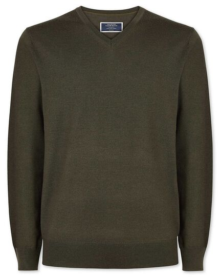 Olive merino v neck sweater