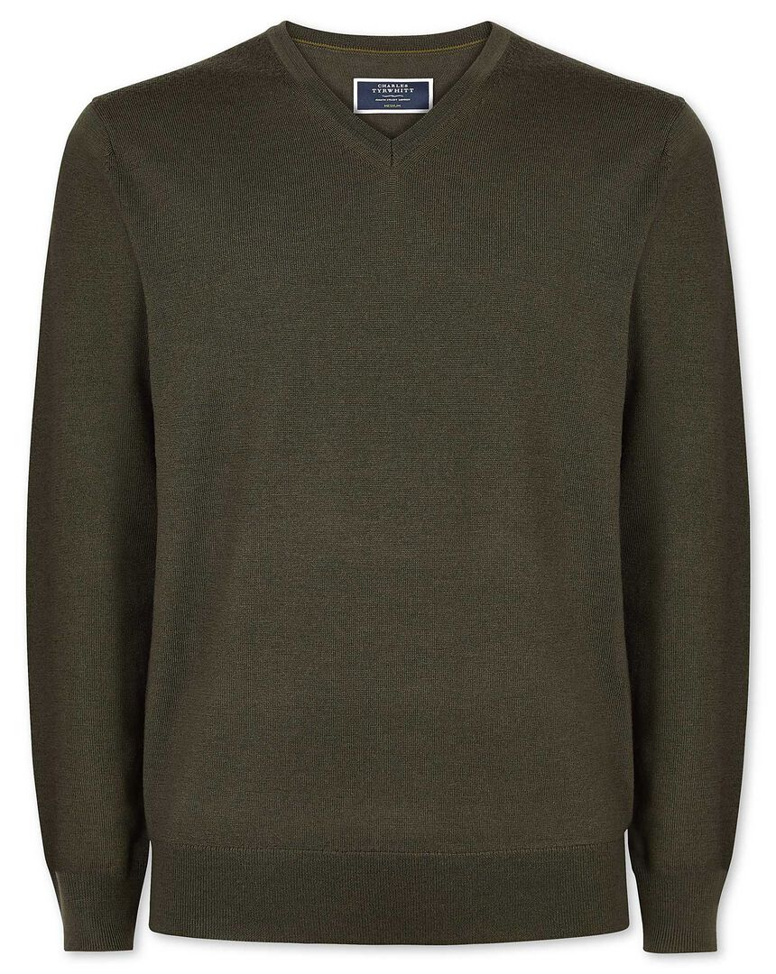 Olive merino v neck sweater