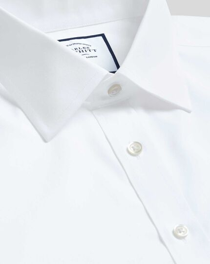 Classic Collar Non-Iron Tyrwhitt Cool Poplin Short Sleeve Shirt - White