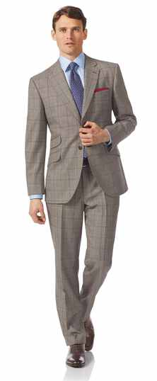 Grey classic fit British Prince of Wales check luxury suit