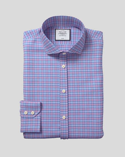 Spread Collar Non-Iron Prince of Wales Check Shirt - Purple & Blue