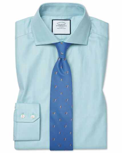Slim fit cutaway cotton stretch with TENCEL™ teal shirt