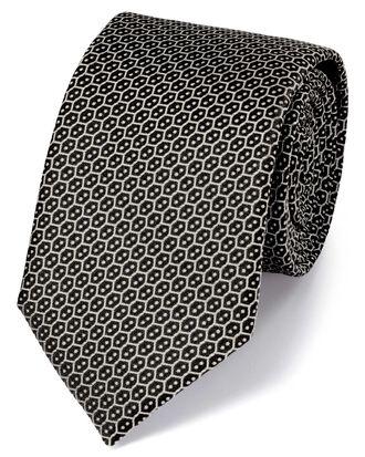 Black silk wire lattice classic tie