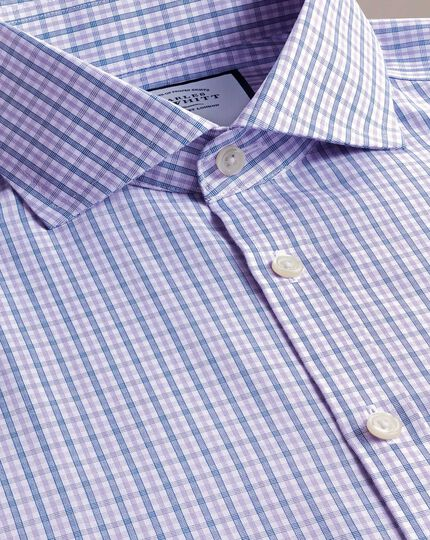 Extra slim fit non-iron blue and purple check shirt