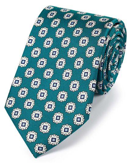 Teal silk printed geometric classic tie
