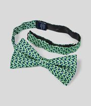 Silk Conversational Print Classic Bow Tie - Green & Navy