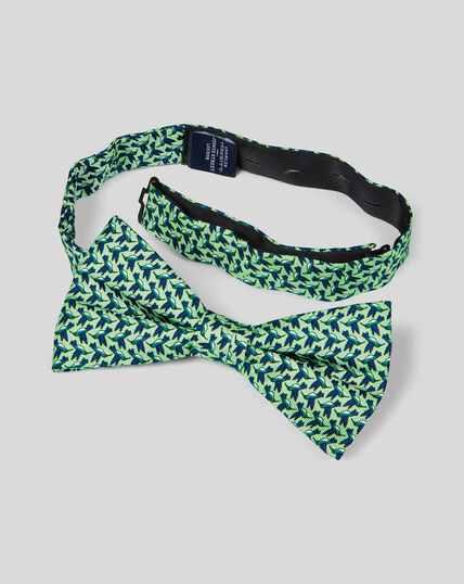 Nœud papillon classique en soie avec imprimé décontracté - Vert et bleu marine