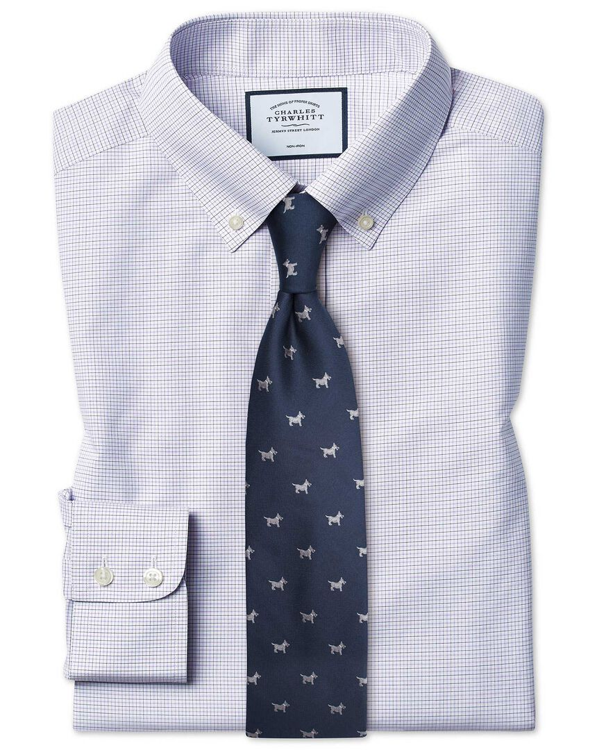 Slim fit non-iron button-down lilac and blue check shirt