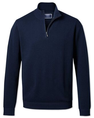 Navy zip neck Thermocool jumper