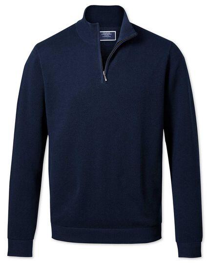 Navy zip neck Thermocool sweater