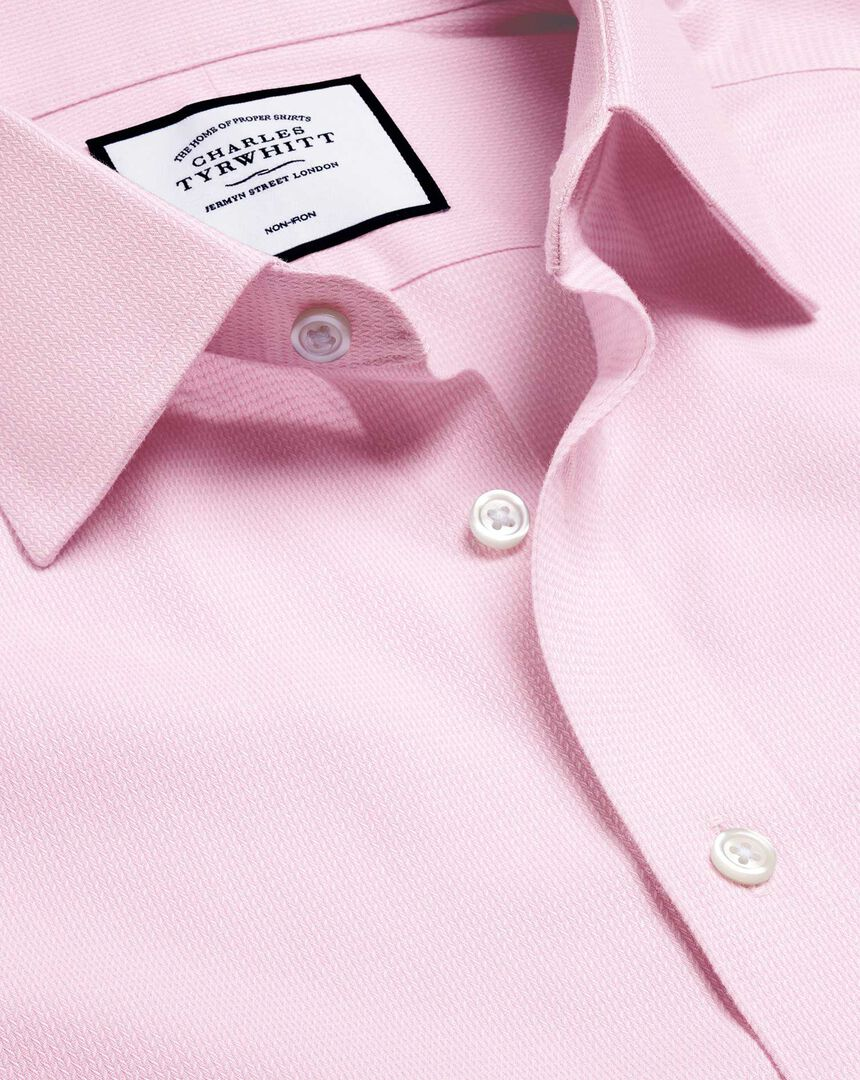 Non-Iron Mini Herringbone Shirt - Pink