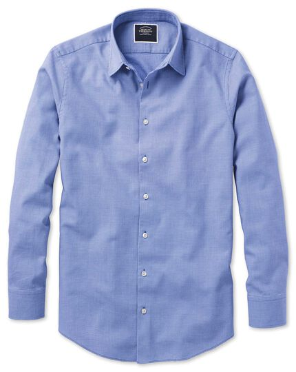 Extra slim fit royal blue micro check soft texture shirt