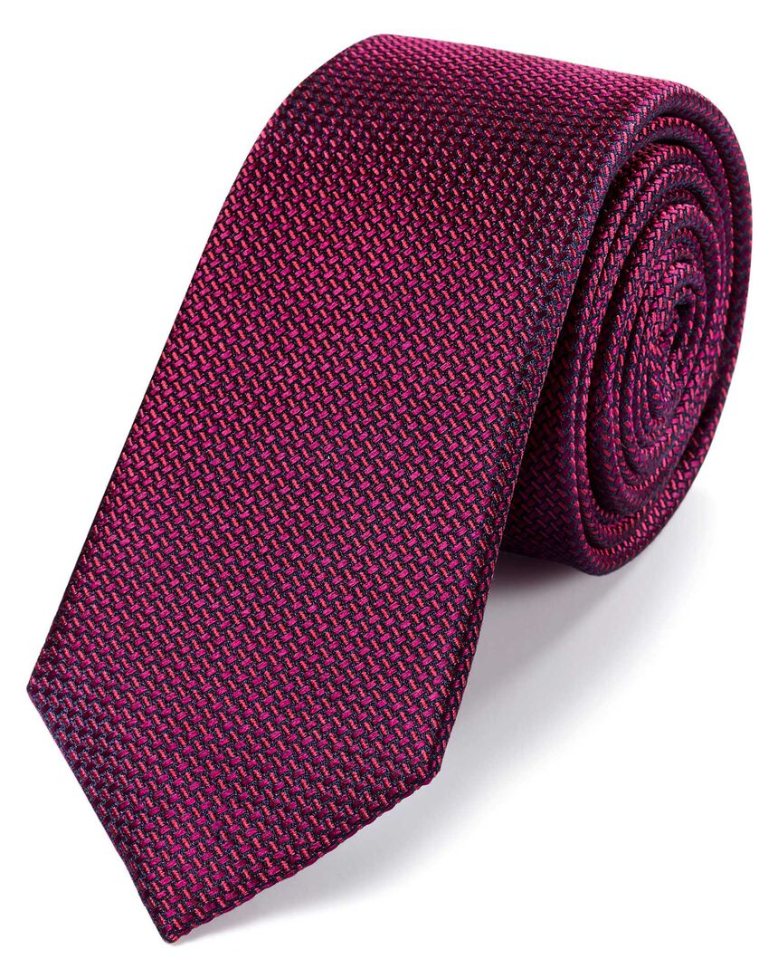 Bright pink silk slim textured semi plain classic tie