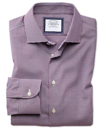 Extra slim fit semi-spread collar business casual non-iron modern textures red multi dogtooth shirt