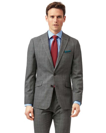 Grey with tan Prince of Wales check extra slim fit suit jacket