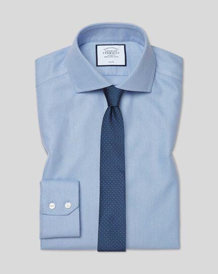Cutaway Collar Non-Iron Buckingham Weave Shirt - Blue