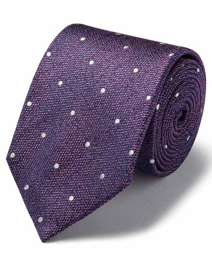 Lilac and white silk spot classic tie